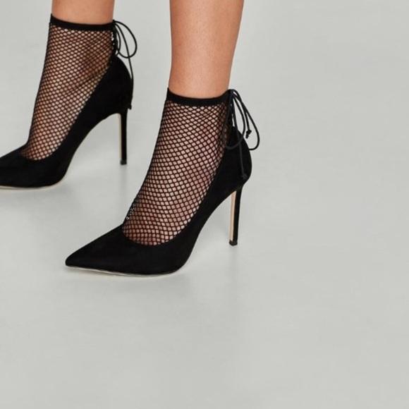 Zara Shoes   Zara New Mesh Sock Black